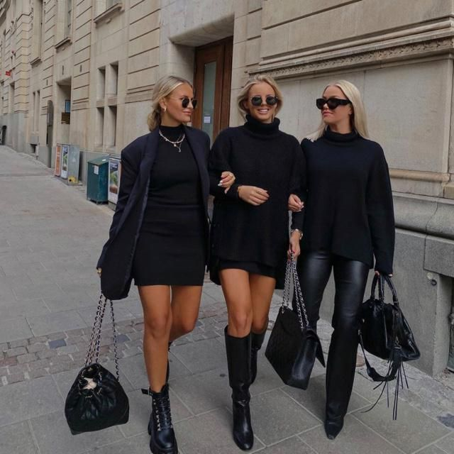 When you and your girls love to wear black outfits together