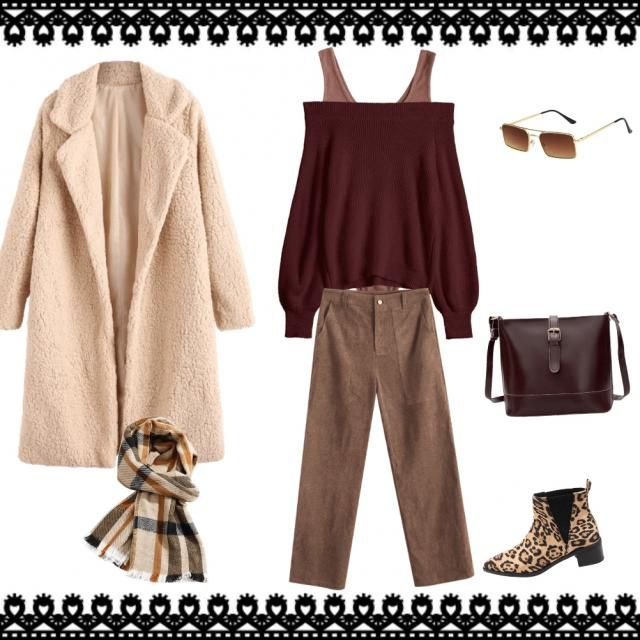 An autumn outfit for a morning, especially for going to work, shopping, coffee.