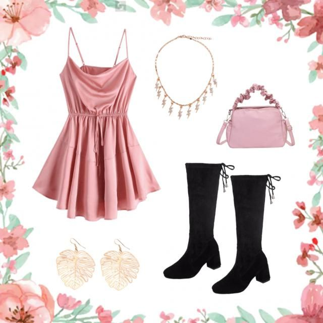 •cute pink dress •sexy boots •electric necklace •gold earrings •pink leather purse