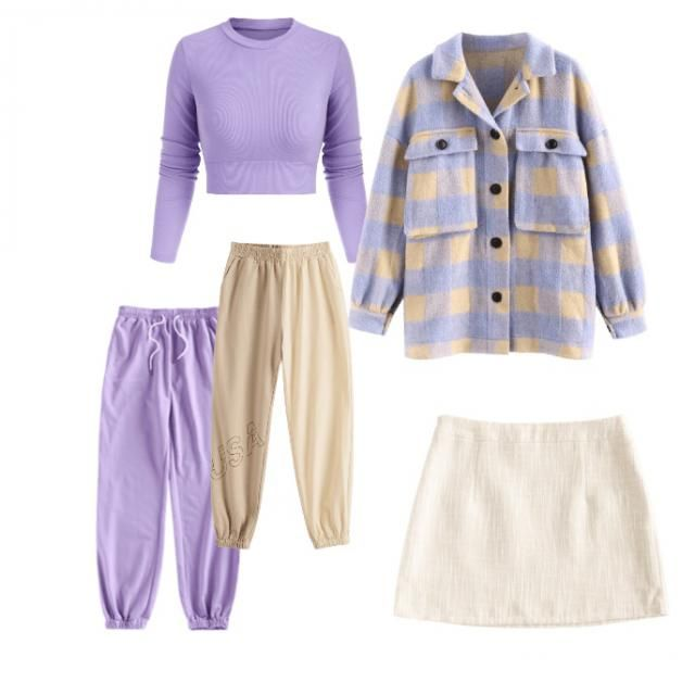 beige and purple