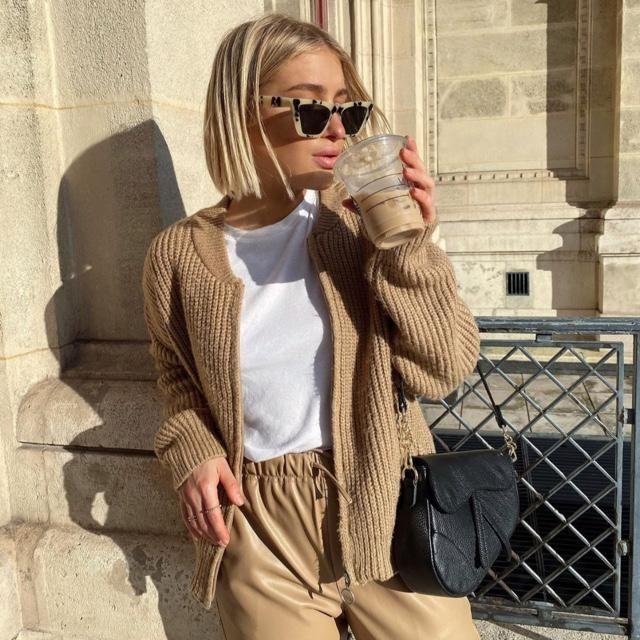 Coffee with coffee khaki cardigan and pants