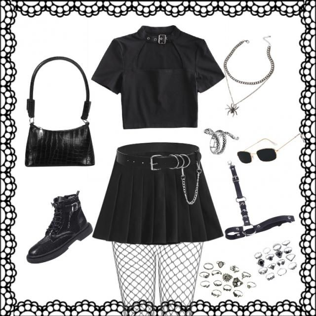 goth, grunge, cute, black,