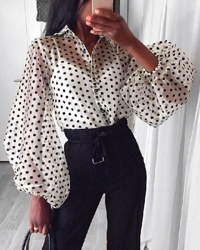 Channel a hot vibe to your wardrobe with a white polka dot blouse!
