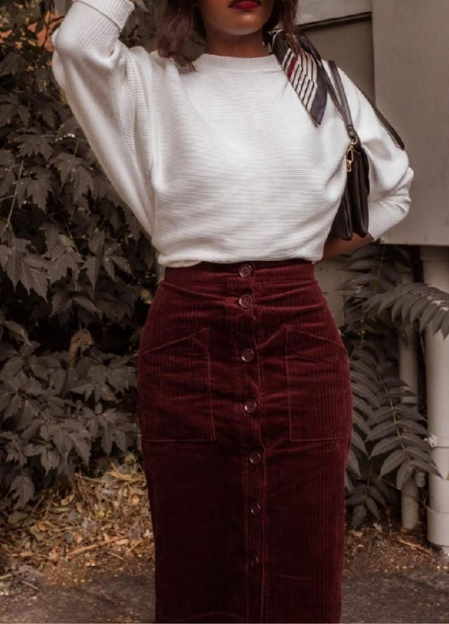 Going straight back into the '70s with amazing corduroy skirts. ♡