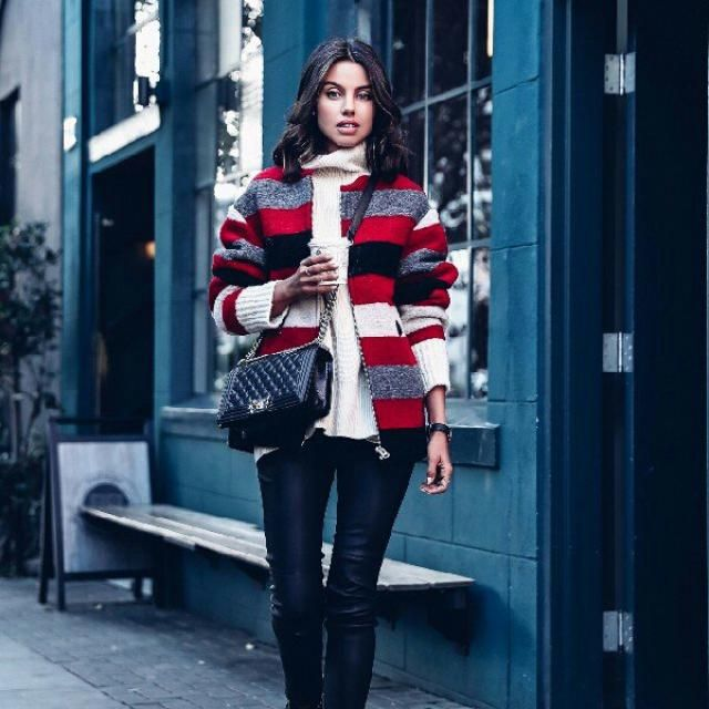 Layer a turtleneck sweater with black leather pants, finish off this look with your plaid coat, for a stylish but …