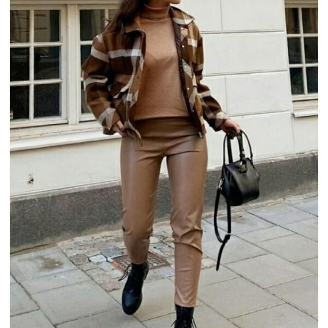 khaki turtleneck jumper sweater with fluffy faux fur short plaid coat and faux leather pants
