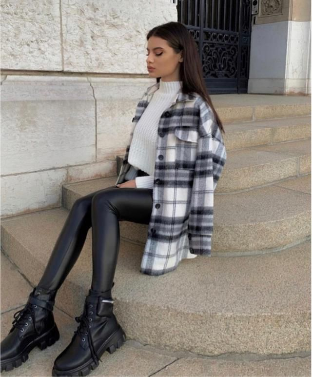 Yes! Plaid jacket and leather leggings are perfect together
