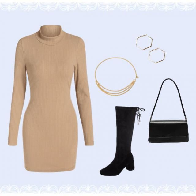 A winter/autumn casual look. Gold Jewellery goes really well with this beige colour.