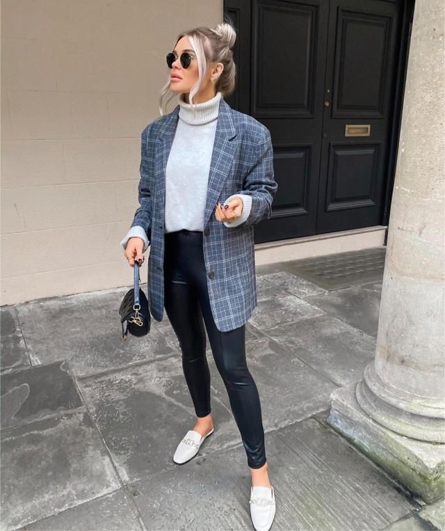 Plaid jacket with turtleneck sweater never goes wrong