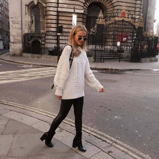 White sweater always goes right with the leather leggings     ppppp