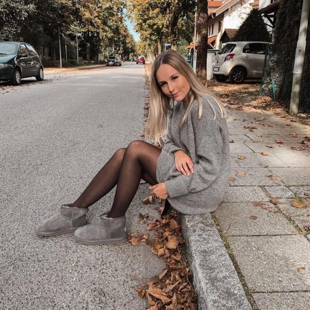 Relaxing on the street with this cute gray sweater