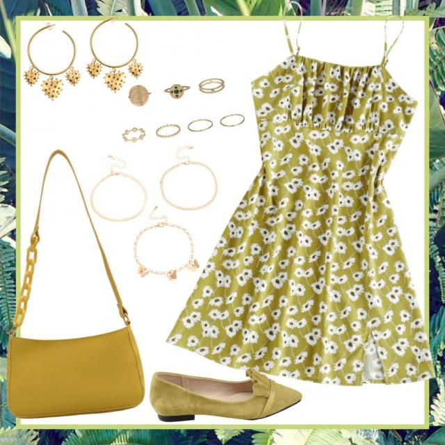 Outfit chic cute flowery 💚🌼🌻