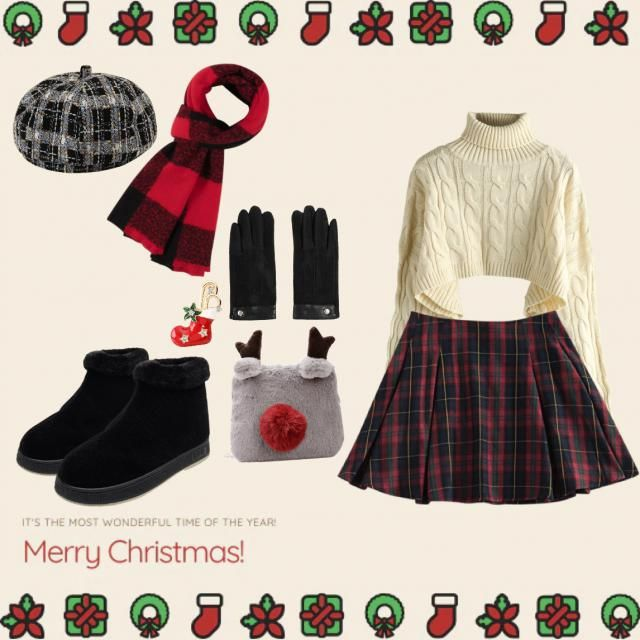got inspired to wear this cute little outfit for Christmas! 🎄 a nice and cozy sweater, paired with a cute plaid skirt l…