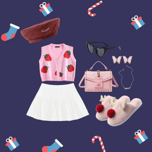 look so good and sweet with this cute christmas outfit 🍓 i love anythink pink so I decided to create an outfit with a l…