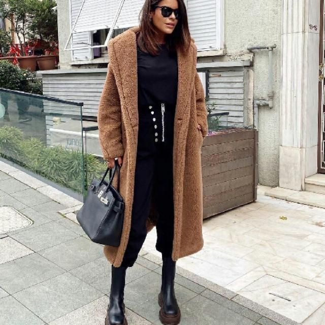 for a chic cozy look try furry long coat