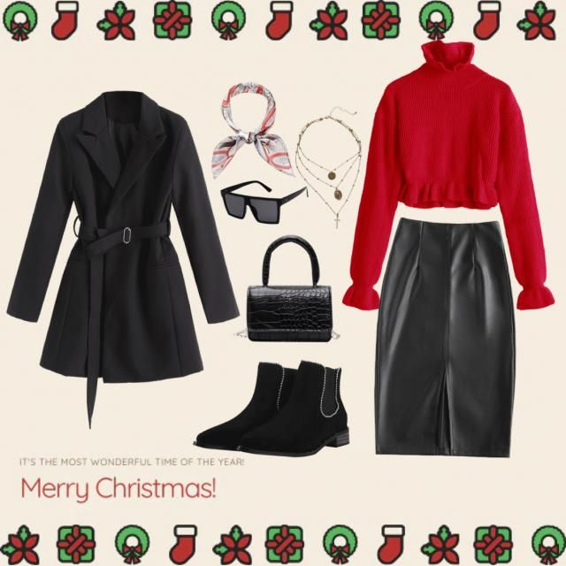 fashionably stunning look this christmas with this red and black outfit 💄✨