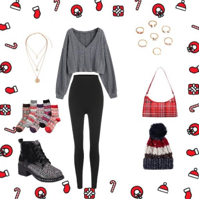 a cozy warm sweater with classic black leggings. in addition to fuzzy Christmas socks that you can wear around the hous…