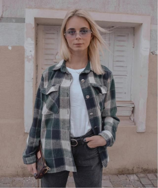 Plaid jacket is cozy! Bring green jacket anywhere you go