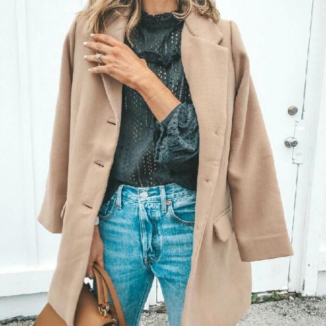chic khaki long coat