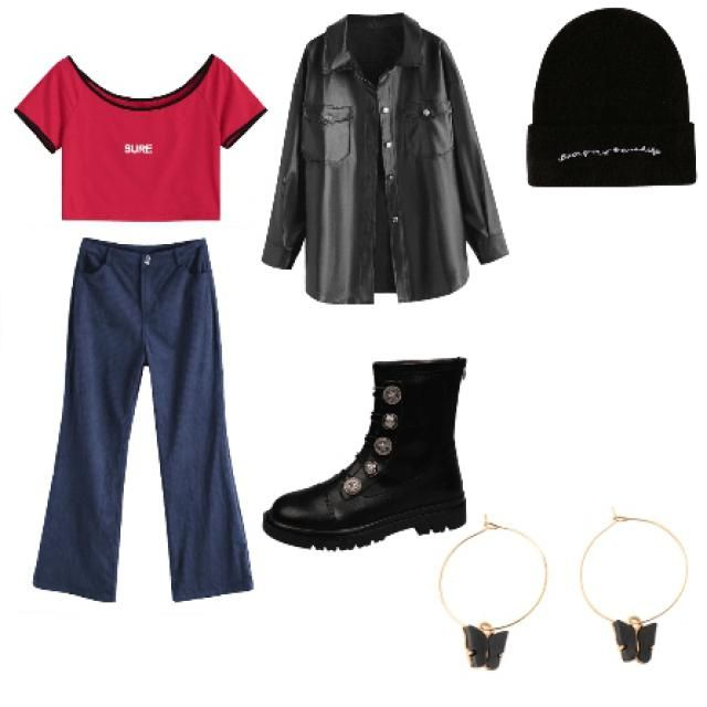 i am wearing SOMETHING like this rn (not the exact same btw) •a red top, a pair of blue jeggings, a beanie, black butte…