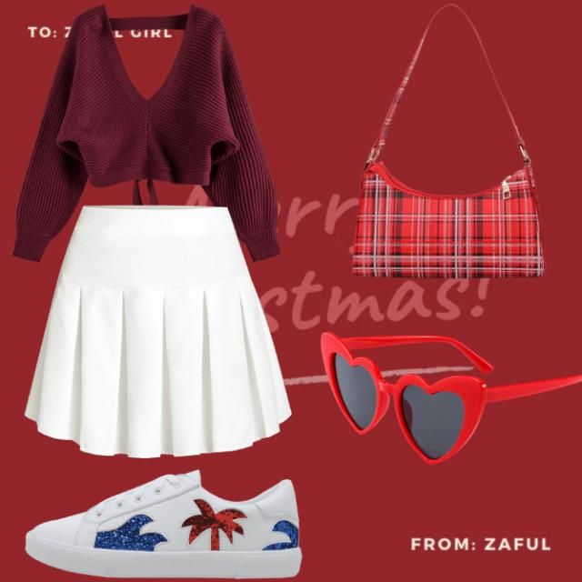 I paired the white miniskirt with the maroon croptop and red hearth sunglasses and a red, white and black handbag so b…