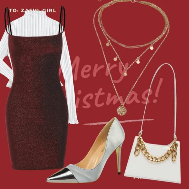 Here's my Christmas outfit. I really like the texture contrast of the ribbed? sweater and sparkly dress. wh…