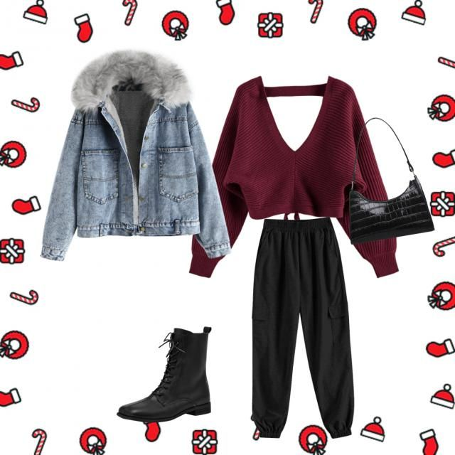 comfy casual outfit with a stylish handbag and a stylish pair of boots and a fluffy denim coat to keep you warm this Ch…