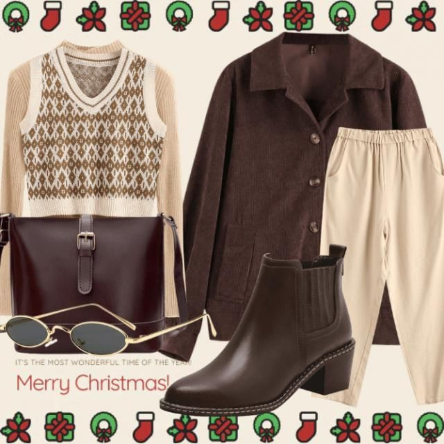 Brown smart casual for the holidays 🐻🎄