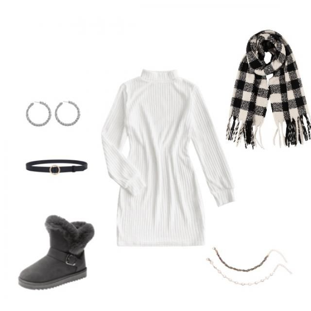 """Black and white Christmas gathering outfit ideas. Added a touch of """"silver and gold"""" with the accesories. A nice warm c…"""