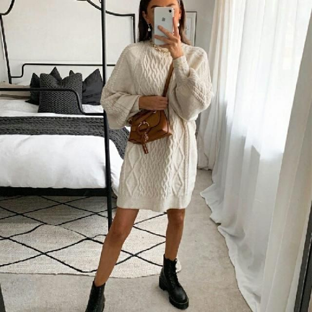 sweater dresses always look elegant and great for Christmas