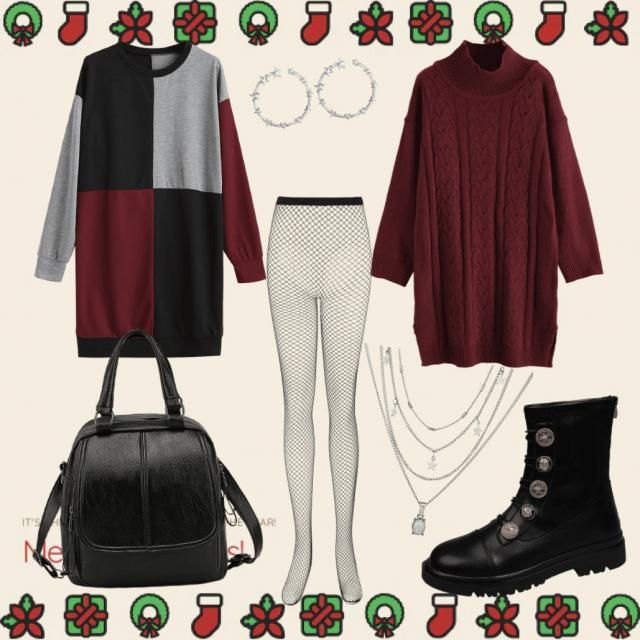Cozy, warm, and a little bit edgy Christmas Day look. Festive it up with some cute holiday necklaces or a fun character…
