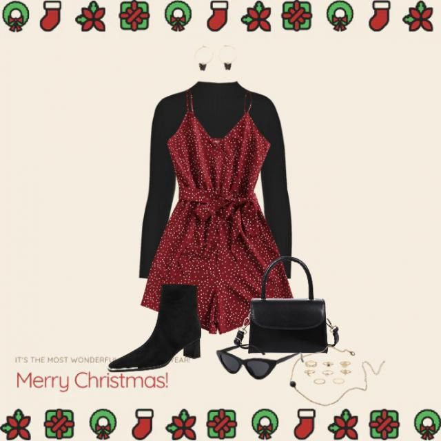 Red and black simple chic winter cristmas seasonal outfit model moderate weather cute casual party dinner date fit ❤️…