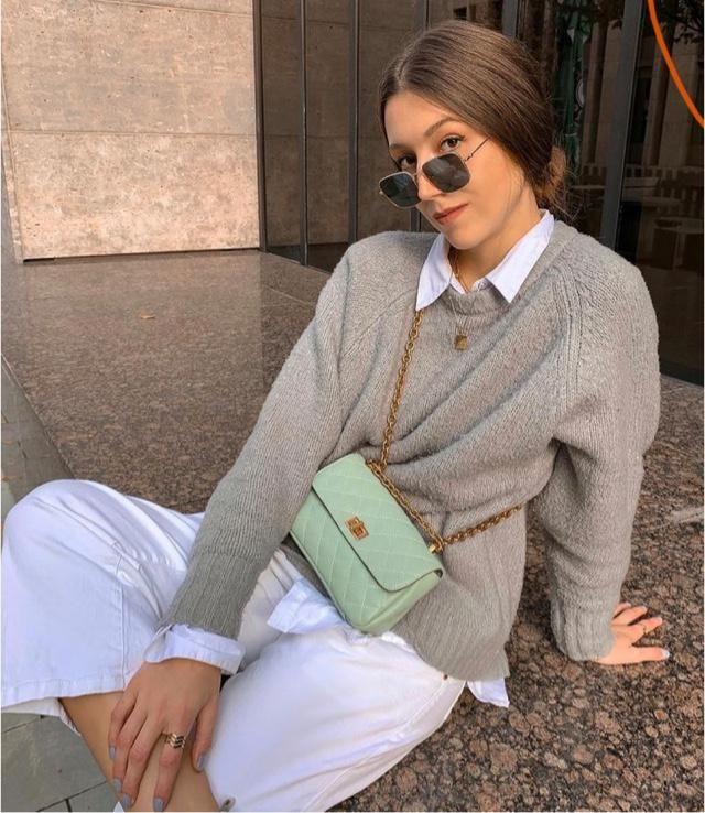 Gray sweater and white shirts! You will Look stylish everyday