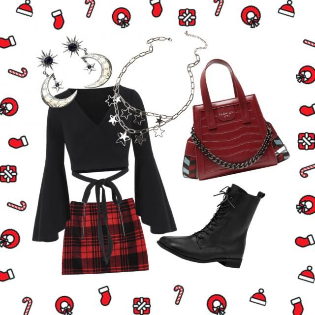 cute alternative starry night xmas outfit ✨  🎄 🎁☃️⭐