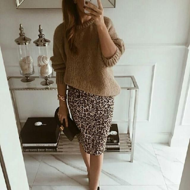 for a chic and classy look try this khaki sweater with leopard skirt