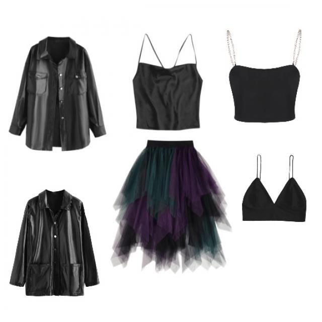 1 skirt, 3 tops, 2 jackets