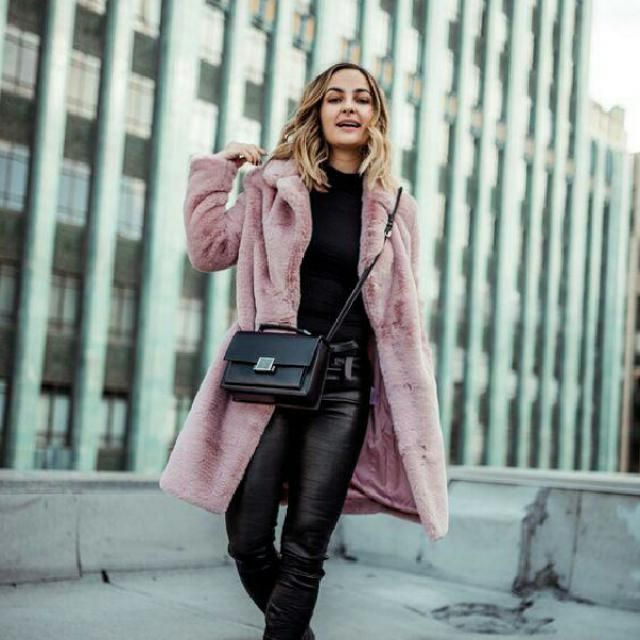 pink soft faux fur long coat