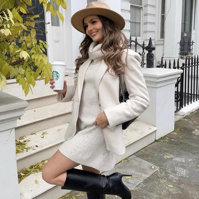 Sweater dress weather mood especially with cute blazer