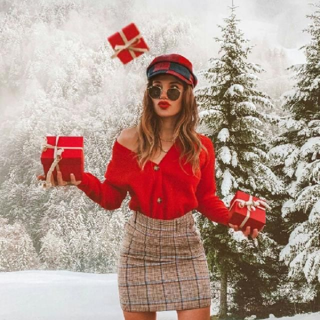 for a fancy and chic look for this Christmas get this red cardigan with plaid mini skirt and cute beret
