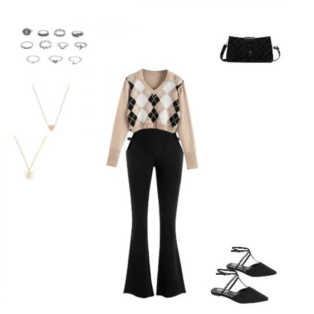 Pattern shirt,black pants, black purse, rings, heart or butterfly necklace, and flat bottom sandals