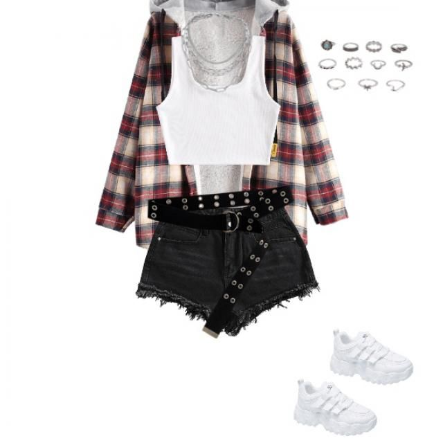 White crop, chain necklace, rings,patterned jacket, black shorts, and black belt