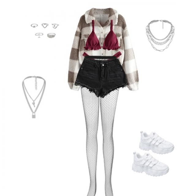 Red bikini, brown jacket, fish nets, black shorts, rings, necklaces, white shoes