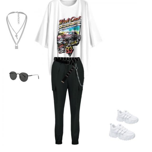 Shirt, pants, belt, necklace, sunglasses, Shoes