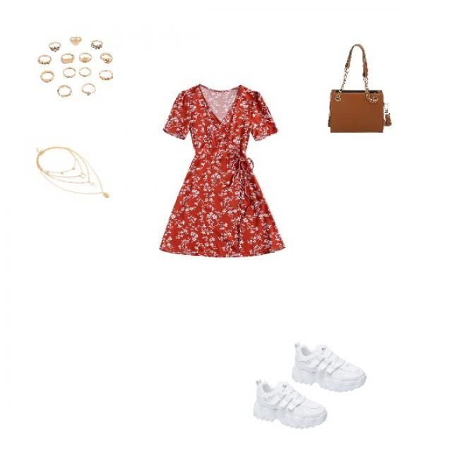 Red dress, brown purse, rings, necklace and white shoes
