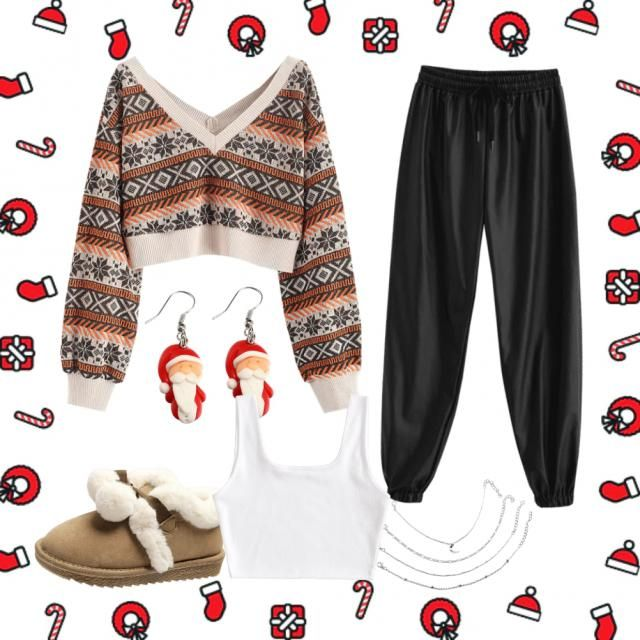 I decided to go with a classic and simple pair of sweatpants with a cosy tshirt. The jumper brings a sparkle of Christm…