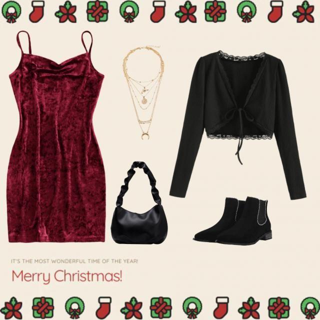 Dunkelrotes ,elegantes Weihnachtskleid mit passenden Accessoires und einer Strickjacke. 💖🎅🤶☃️🎄