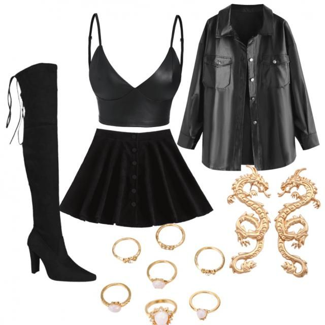All black cute outfit