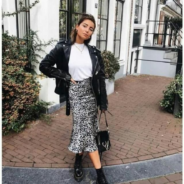 I advice you to try this leopard animal print skirt with black faux leather jacket for a cool edge look