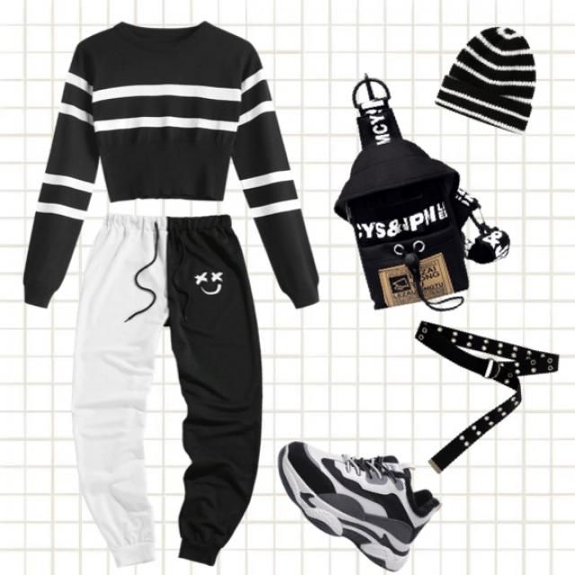 Cool black and white outfit 💀🖤