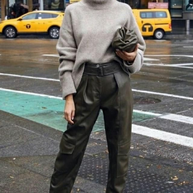 leather pants with grey turtleneck sweater look so chic
